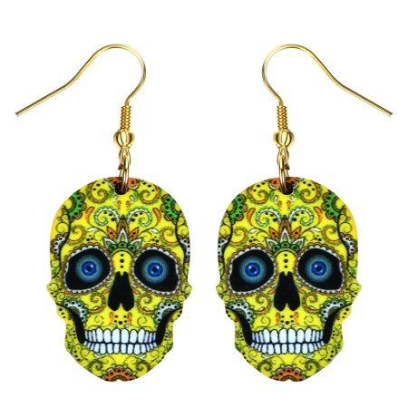 Sugar Skull Earrings (Yellow Sugar Skull Earrings Colorful Skull Head Colorful Design Earrings Jewelry)