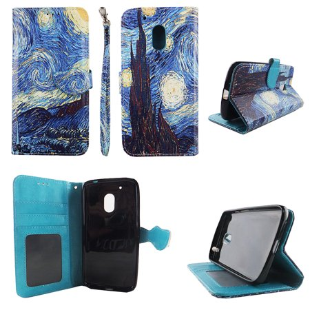 Starry Night Wallet Folio Case for Motorola Moto G4 Play Fashion Flip PU Leather Cover Card Cash Slots & (Best Moto G4 Cases)