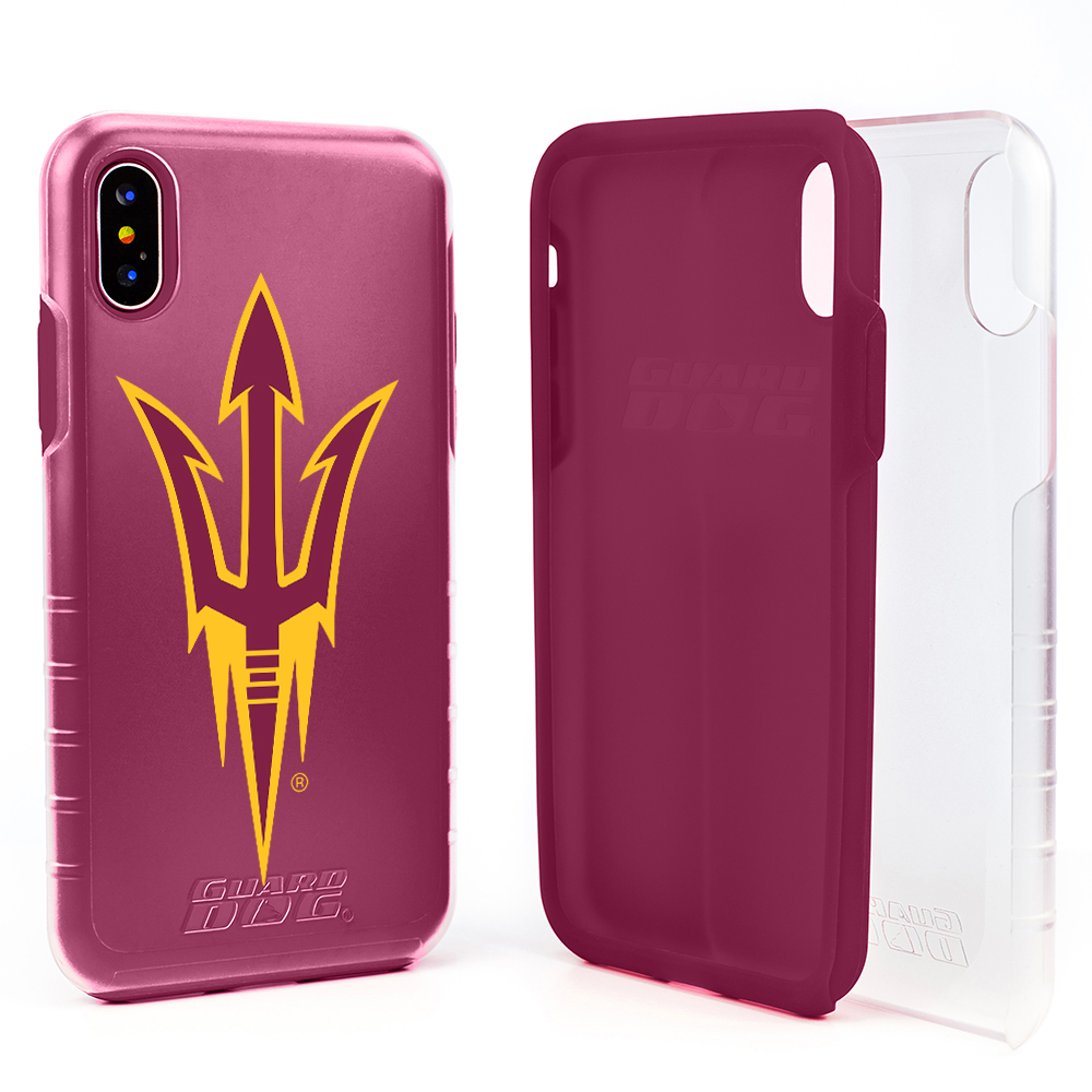 Arizona State Sun Devils Clear Hybrid Case for iPhone X / Xs with Guard Glass Screen Protector - Clear with Maroon