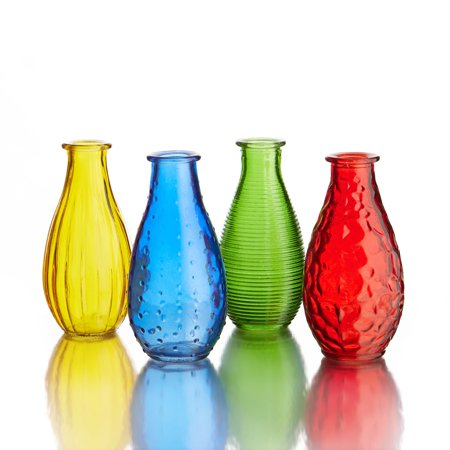 Style Setter Fifth Avenue Crystal Small Gems Colored Glass Vases