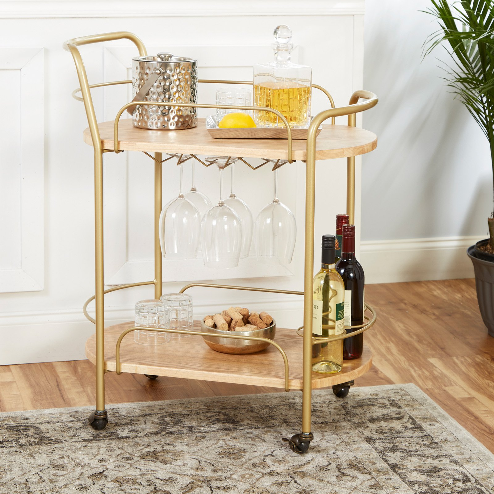 Wyndham Two-Tier Steel Rolling Bar Cart with Handles