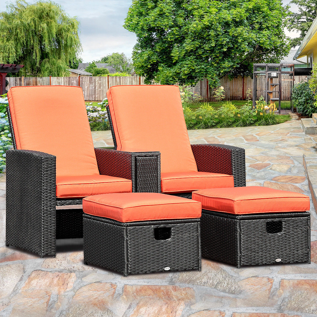 Gymax 3PCS Patio Furniture Reclining Recliner Set Adjustable Backrest  Rattan Ottoman