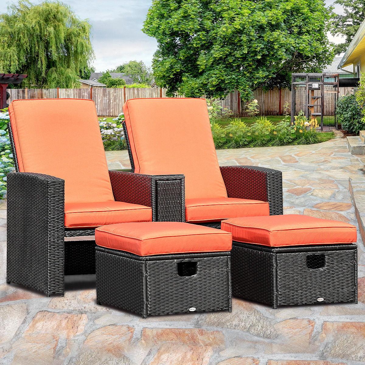 Gymax 3PCS Patio Furniture Reclining Recliner Set Adjustable Backrest Rattan Ottoman