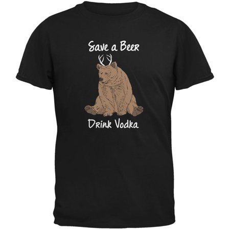 Save a Beer Drink Vodka Black Adult T-Shirt
