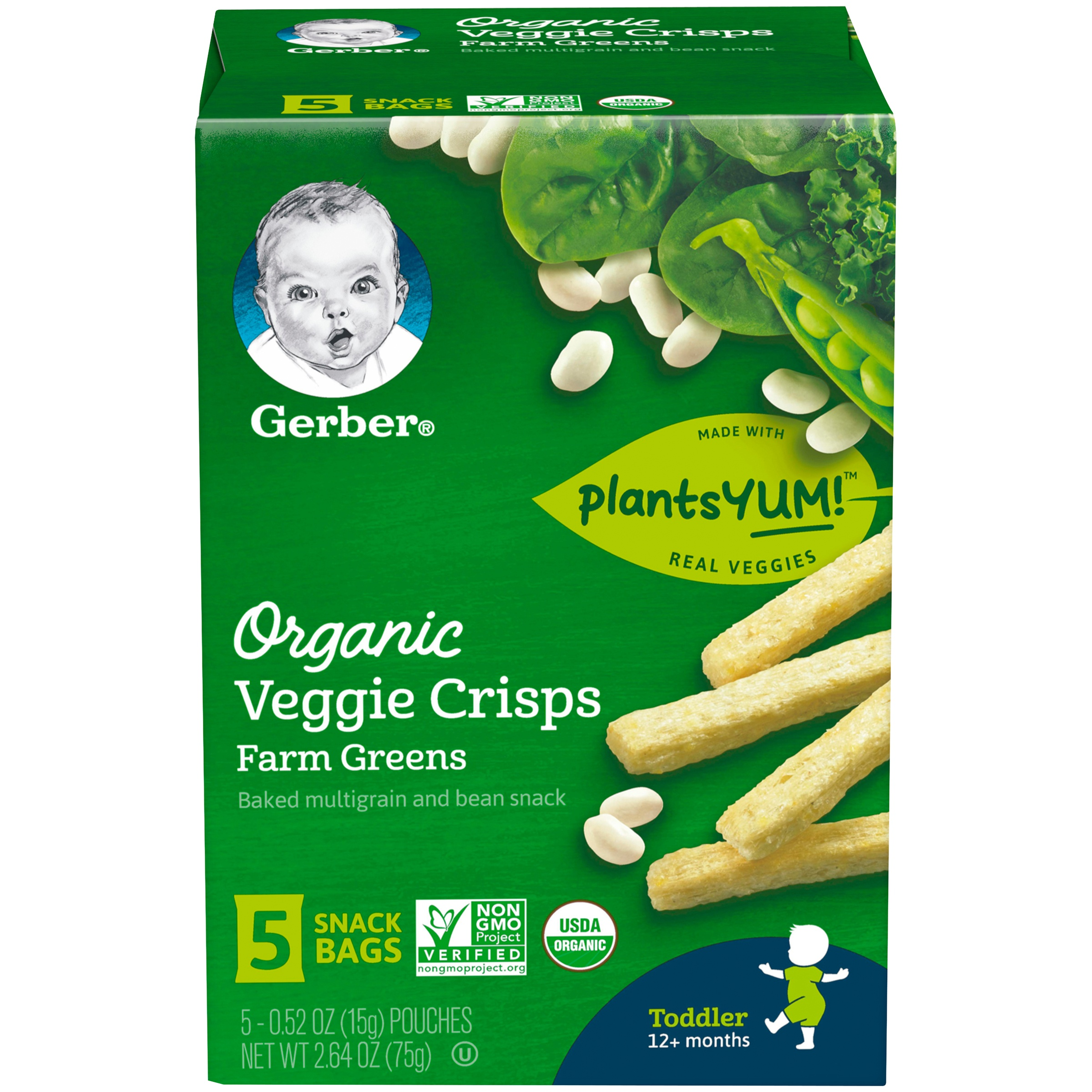 Gerber Organic Veggie Crisps, Farm Greens, 0.52 oz. Pouch, 5 Count (Pack of 4)