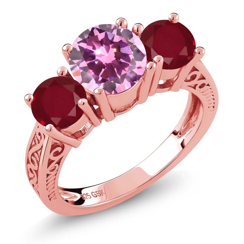2.38 Ct Round Pink Zirconia Red Ruby 18K Rose Gold Plated Silver 3-Stone Ring by