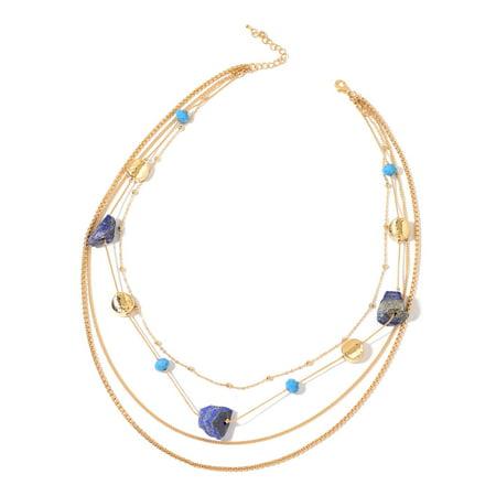 Lapis Lazuli Blue Glass Chroma Goldtone Collar Statement Necklace 23