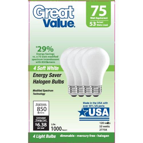 Great Value 53W Halogen Lightbulbs, 4pk