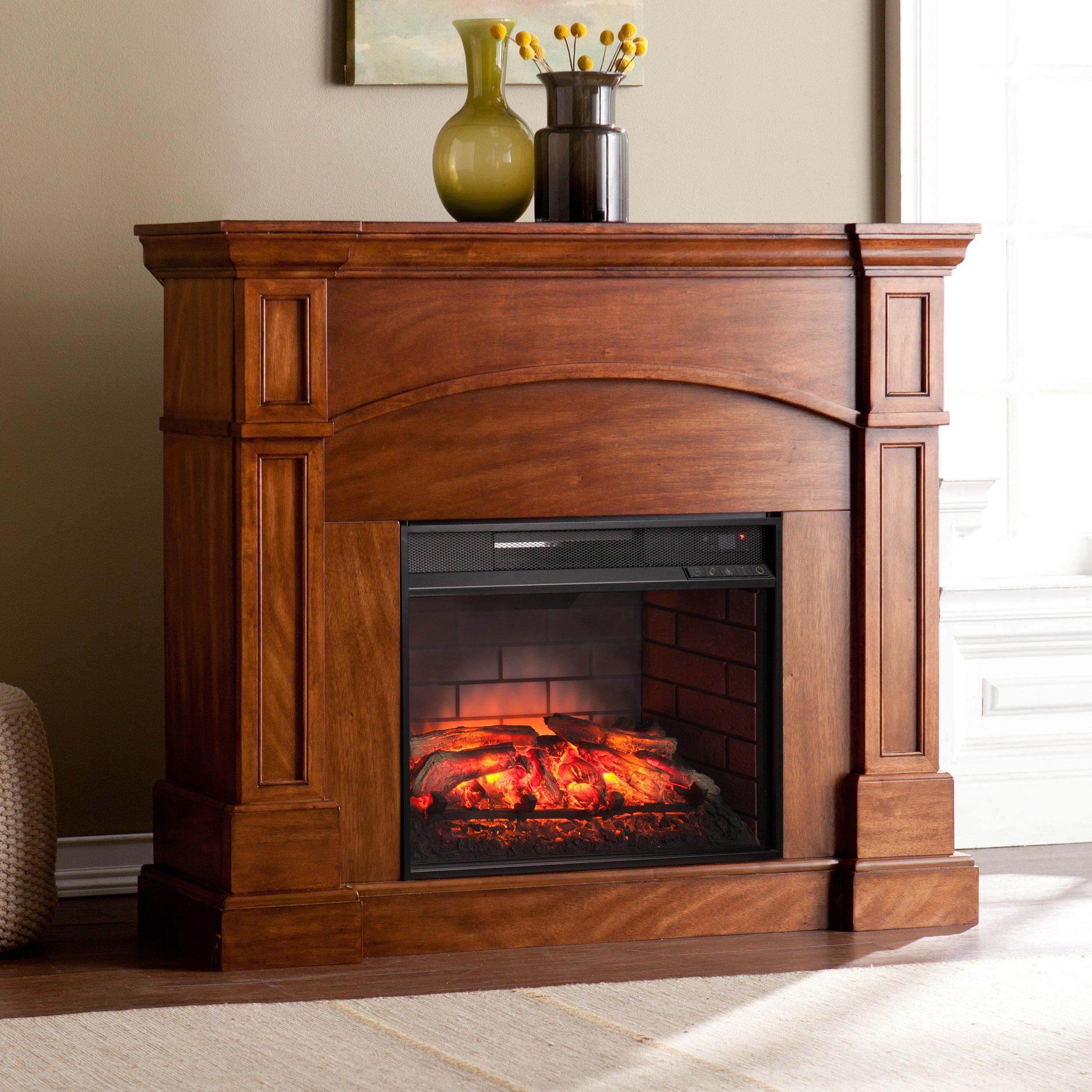 Southern Enterprises Harper Blvd Hawkins Oak Saddle Corner Convertible Infrared Electric Fireplace