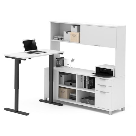 Image of Bestar Pro-Linea L-Desk Including Electric Height Adjustable Table, Multiple Colors