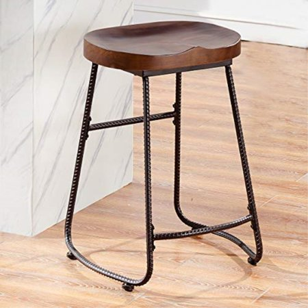 cb5c05aa5b82 O&K Furniture Contoured Saddle Seat 24-Inch Backless Bar Stool Chair for  Home Kitchen Island