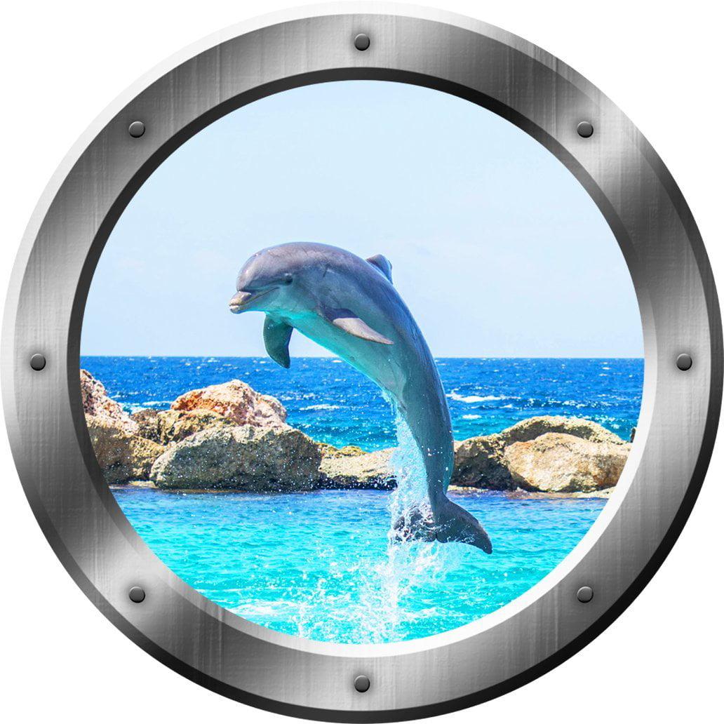 "VWAQ Dolphin Porthole Porpoise Wall Decal 3D Sticker Sea Life Wall Decor VWAQ-SP30 (14"" Diameter)"