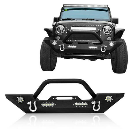 06 Jeep Wrangler Front Bumper (Jeep Wrangler Front Bumper, Rock Crawler Bumper w/Winch Plate & LED Accent Lights for 2007-2018 Wrangler JK &)