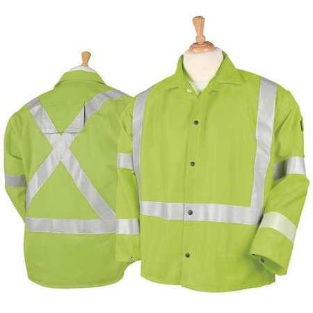 Hi Reflective Jacket - Black Stallion JF1012-LM Hi-Vis Safety FR Cotton Welding Jacket with FR Reflective Tape, Lime, Large