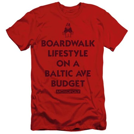 Trevco Sportswear HBRO306B-SF-4 Monopoly & Lifestyle Vs Budget-Short Sleeve Adult 30-1 T-Shirt, Red - Extra Large