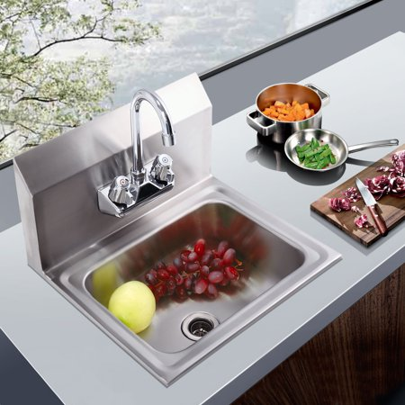- Jaxpety Commercial Stainless Steel Wall Mounted NSF Hand Sink w/ Faucet 17