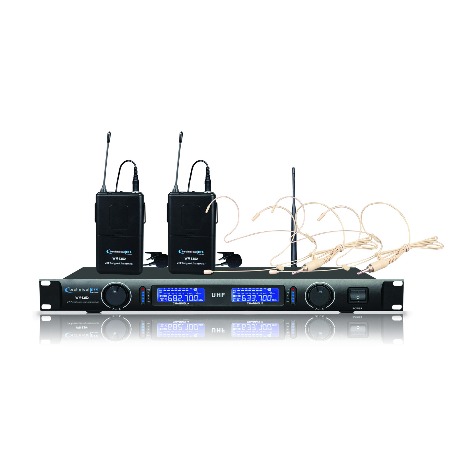 Technical Pro Dual UHF Wireless Microphone Lapel and Headset System by Technical Pro