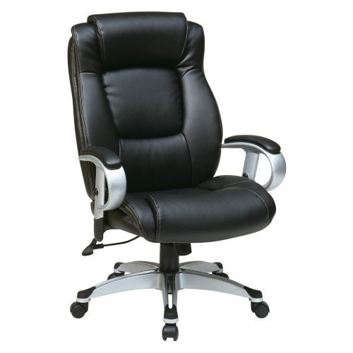 Office Star Executive Eco Leather Chair with Padded Height Adjustable Arms and Coated Base