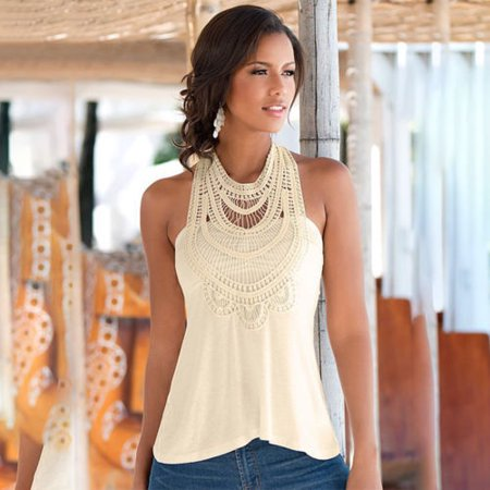 Womens Casual Summer Casual Sleeveless Halter Neck Hollow Tops Lace Flowy Sexy Shirts Tank Tops