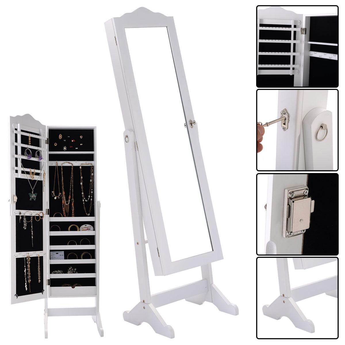 Armoire Mirrored Jewelry Cabinet Organizer Storage Box With Stand And Lock Walmart Com Walmart Com