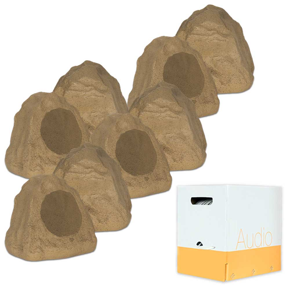 """Theater Solutions 8R6S Outdoor Sandstone 6.5"""" Rock 8 Speaker Set with Wire for Yard Pool Spa Patio Garden"""