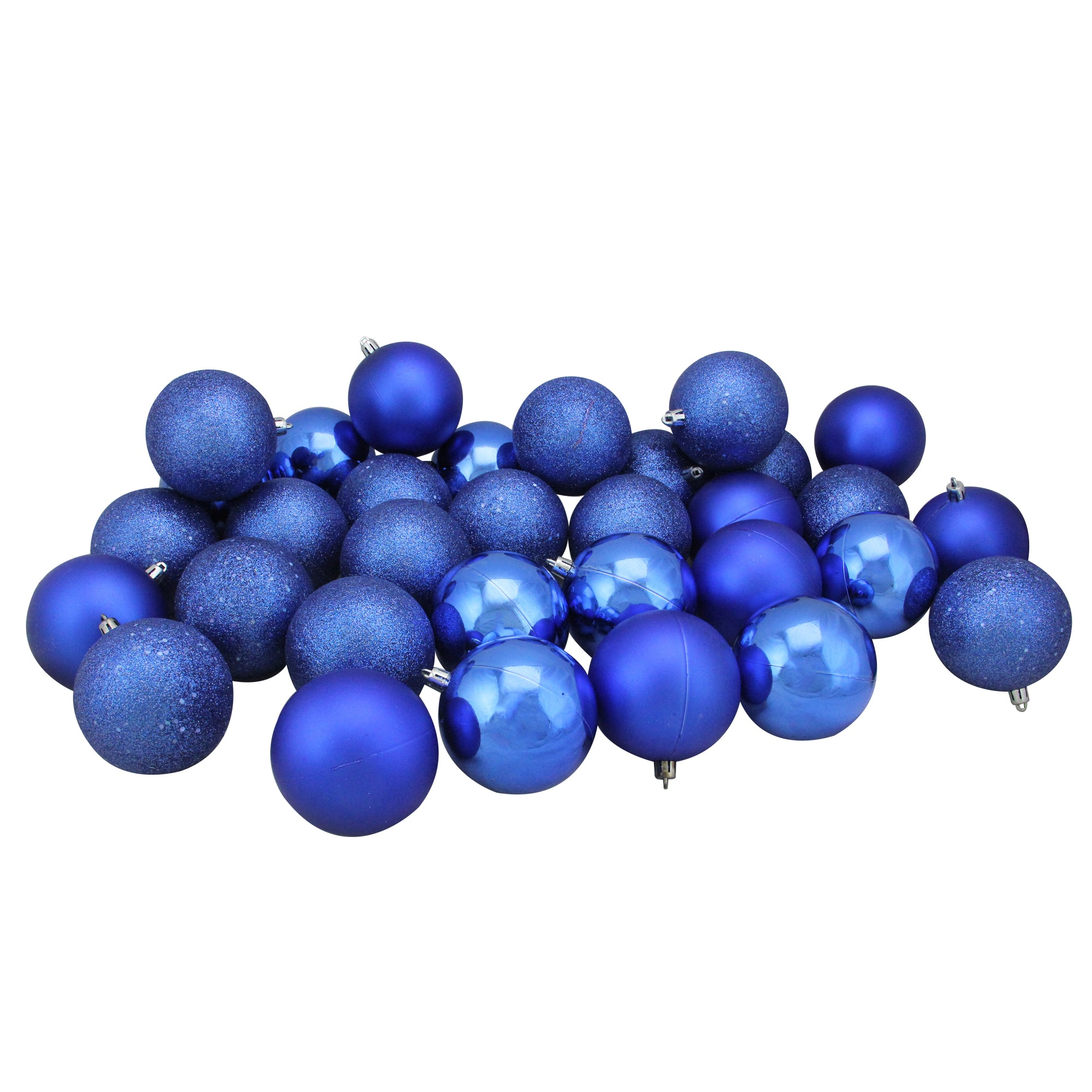 """32ct Red Hot Shatterproof 4-Finish Christmas Ball Ornaments 3.25"""" (80mm)"""
