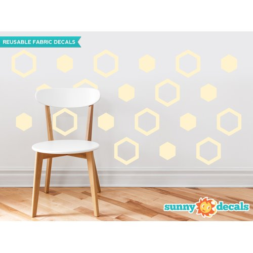 Sunny Decals Hexagon Fabric Wall Decal (Set of 16)