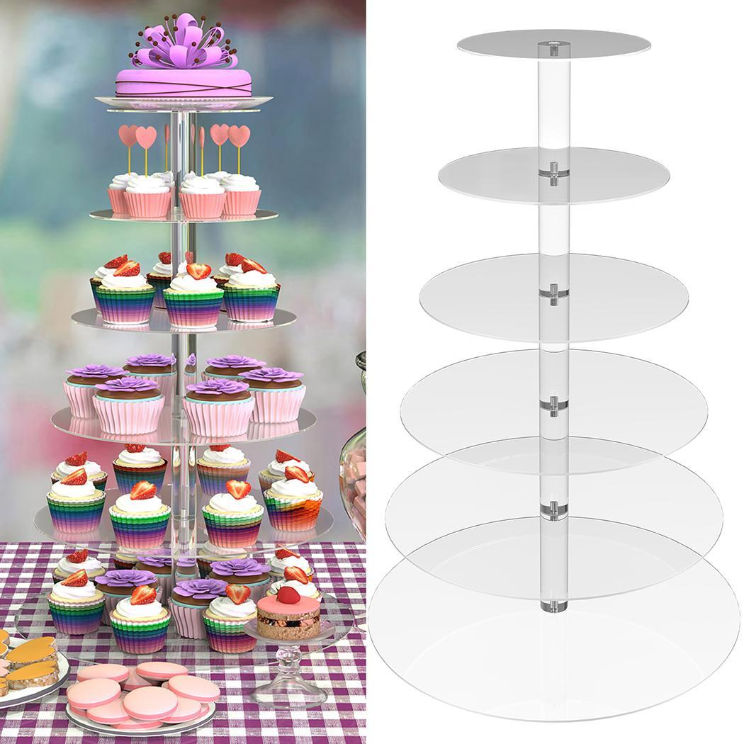 Cupcake Stand Round 7 Tier Mirror Acrylic Wedding Party Cake Display Tower