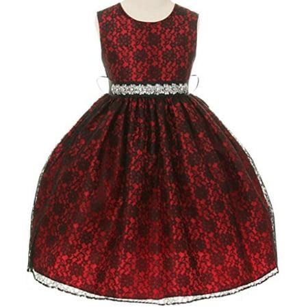 5c9ad1f2dd8 BNY Corner Flower Girl Dress Overlay Lace   Rhinestone Belt Red 8 ...