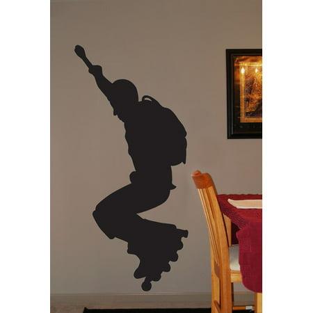 Day Black Roller (Wallhogs Roller Blade Silhouette III Cutout Wall Decal)