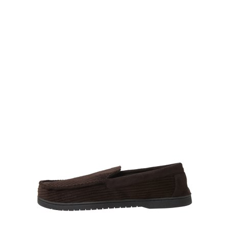 DF by Dearfoams Men's Corduroy and Leather Inspired Moccasin slippers