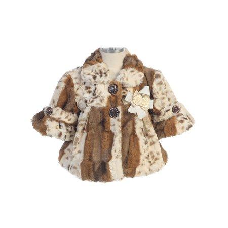 Kids Faux Fur Jacket - Bijan Kids Girls Tan Brown Animal Print Rose Detail Faux Fur Jacket