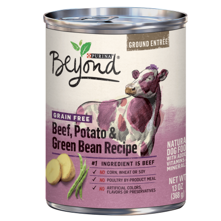 (4 Pack) Purina Beyond Grain Free Beef, Potato & Green Bean Recipe Ground Entree Adult Wet Dog Food - 13 oz. - Halloween Entrees For Adults