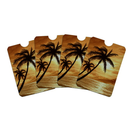 Sunset on Tropical Beach with Palm Trees Hawaii Orange Credit Card RFID Blocker Holder Protector Wallet Purse Sleeves Set of 4