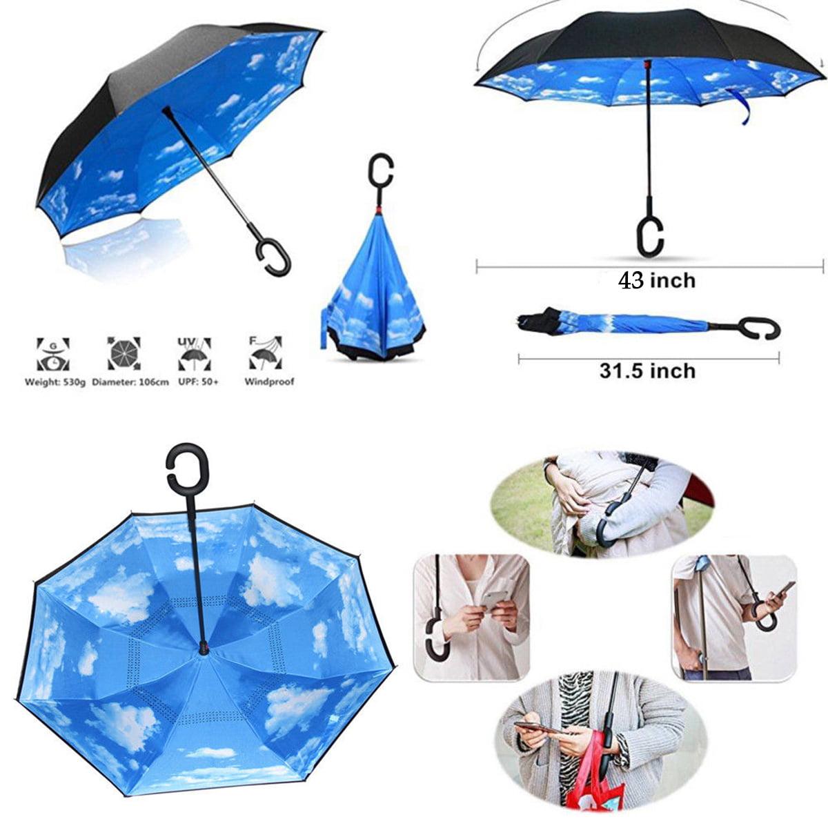 31f939f153236 Back to School! cute umbrella C-Handle Parasol Folding Rain Windproof  Umbrella ON SALE Double Layers Inverted Reverse - Walmart.com