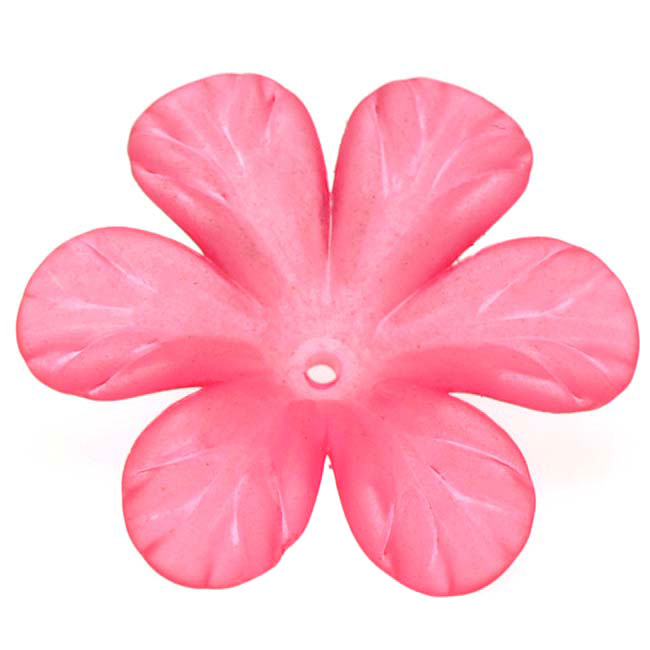 Lucite 6 Petal Tropical Flower Beads Matte Hot Neon Pink 30mm (4)