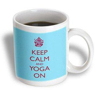 (3dRose Keep calm and yoga on, Ceramic Mug, 11-ounce)