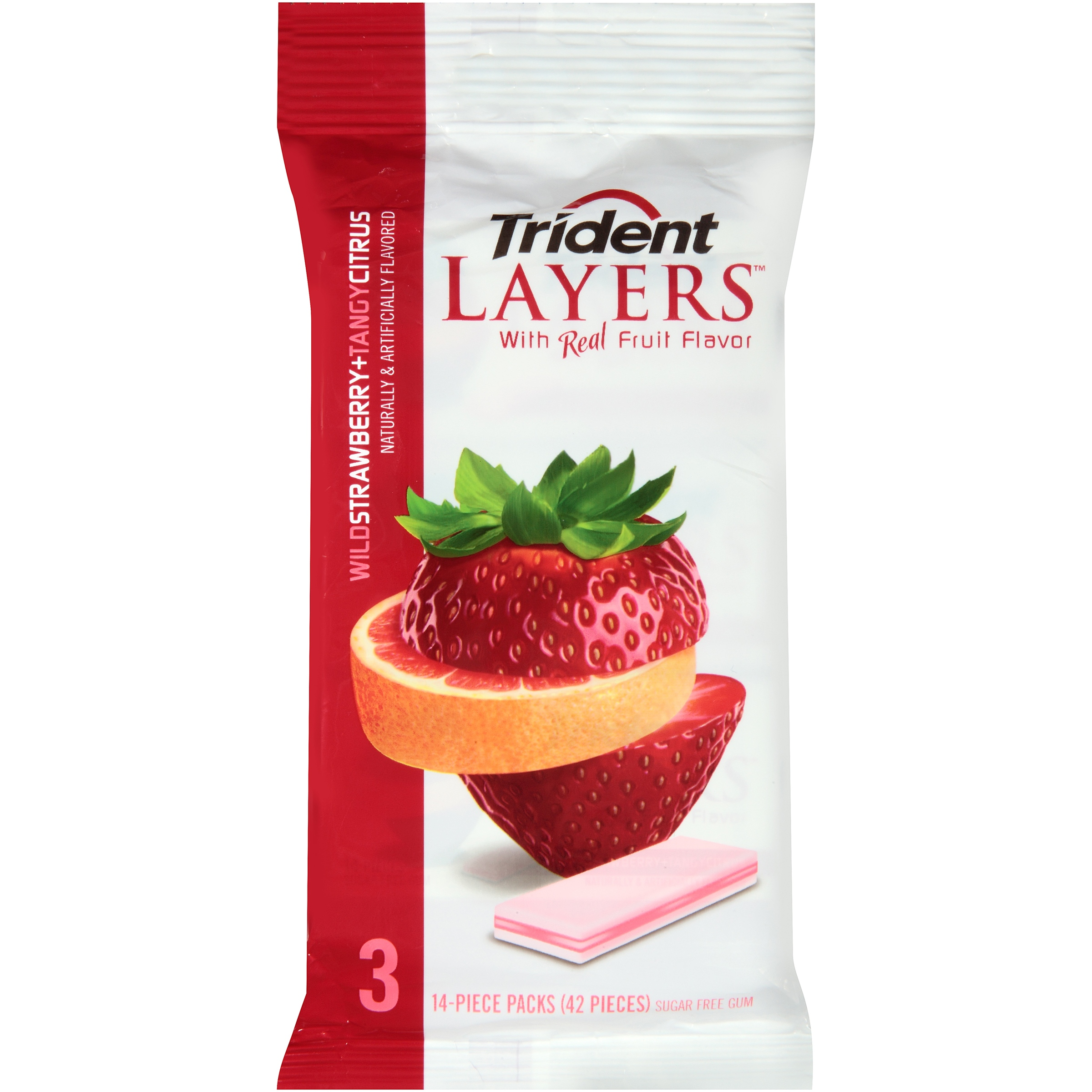 Trident Layers Wild Strawberry and Tangy Citrus Sugar Free Gum- 3 PK, 3.0 PACK by Mondelez Global LLC
