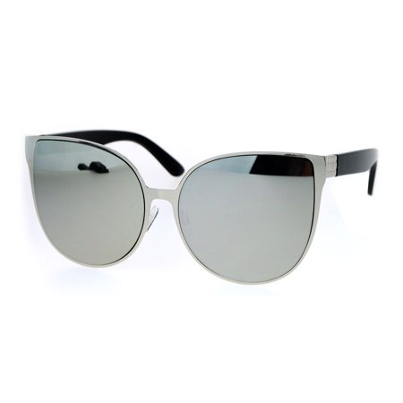 SA106 Womens Oversized Flat Mirrored Lens Metal Rim Cat Eye Sunglasses Black (Oversized Cat Eye Sunglasses)