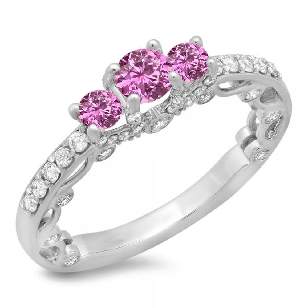 1.15 Carat (ctw) 10K White Gold Round Cut Pink Sapphire & White Diamond Ladies Bridal Vintage 3 Stone Engagement Ring