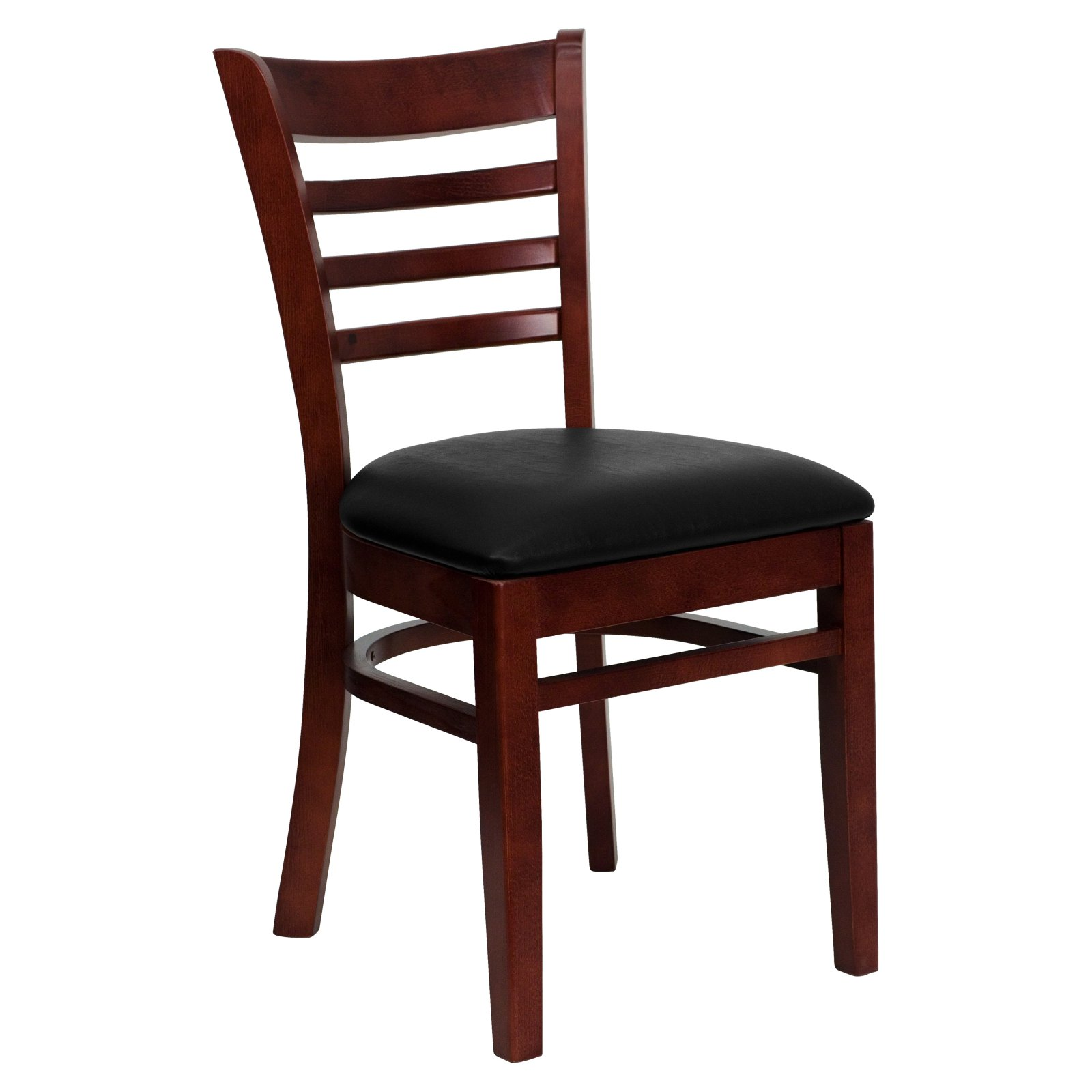 Flash Furniture HERCULES Series Mahogany Finished Ladder Back Wooden Restaurant Chair, Vinyl Seat, Multiple Colors