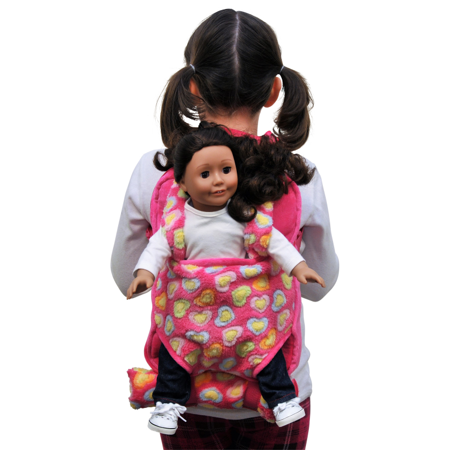 Pink Childs Backpack Doll Carrier & Sleeping Bag Clothes & Accessory Storage for American Girl Dolls (American Girl Doll Backpack)