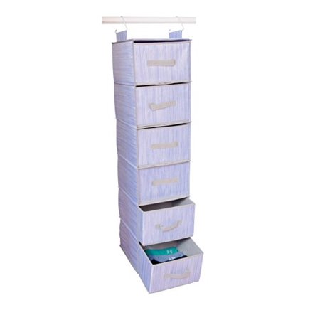 Adorn Home Essentials| Hanging Fabric Closet Shelf Organizer with Drawers| Ideal for clothing, accessories, Shoes, Towels and Home Essentials| 6-Tier, Inst-Shelf Organizer Set | (BLUE) ()