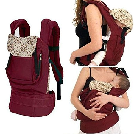 Ergonomic Cotton Baby Carrier Infant Newborn Comfort Backpack dapt to Newborn, Infant & Toddler, Great Hiking Backpack carrier Red