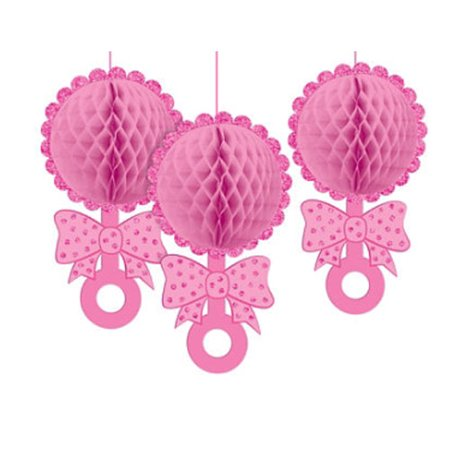Baby Shower 'Baby Girl' Deluxe Honeycomb Decorations (3ct)