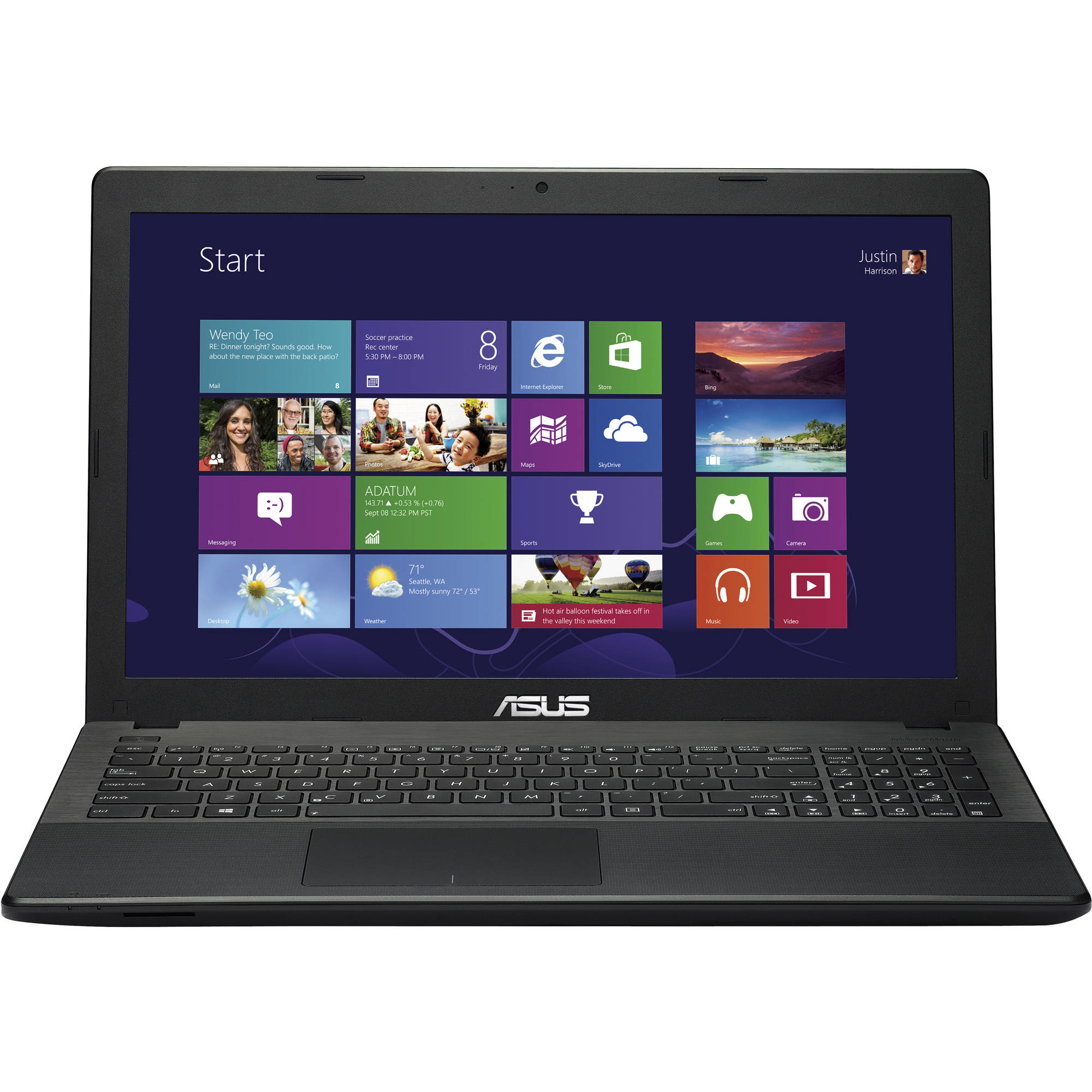 "ASUS Black 15.6"" X551CA-RI3N15 Laptop PC with Intel Core i3-3217U Processor, 4GB Memory, 500GB Hard Drive and Windows 8"