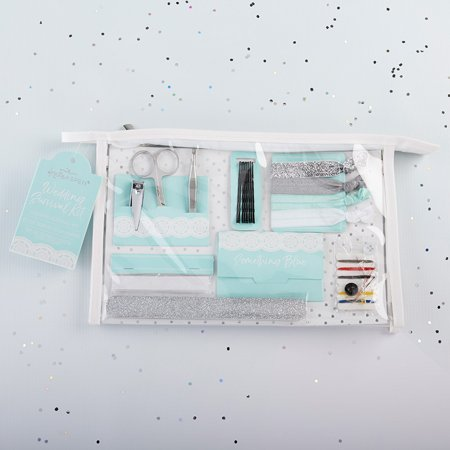 Kate Aspen Something Blue Survival Kit Everything you need to survive the big day is inside Kate Aspen's Something Blue Survival Kit! The emergency wedding kit includes a manicure set, nail file, 4 hair ties, 8 bobby pins, clothing tape strip, 12 oil absorbing wipes, and a sewing kit, so you're always prepared for whatever the day may toss your way! The perfect bridal party thank you gift, the Something Blue Wedding Day Survival Kit has you and all of your girls covered! Features and facts:Set includes manicure set with silver scissors, nail clippers, and tweezers, a silver glitter nail file, 4 elastic hair ties on cardstock card with silver glitter, silver, blue, and white, 8 black bobby pins on cardstock card, white clothing tape strips, 12 oil absorbing sheets, and a sewing kit with threads, needle, safety pin, and 2 buttons.Sold individuallyMeasures 10.23  w x 2.08  d x 6.69  hPackaged in clear vinyl cosmetics bag with tag