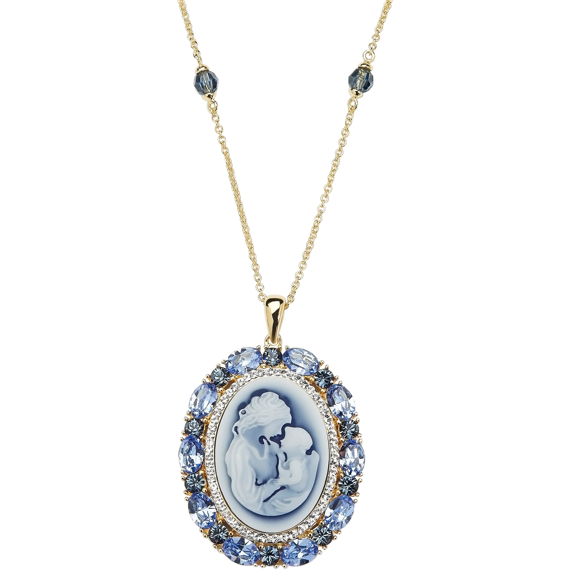 Sterling Silver and 18kt Gold Plate Colophony Oval Mother with Child Cameo Necklace with Swarovski Crystal Elements, 18""