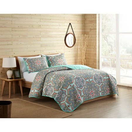 VCNY Home Multi-Color Yara 3 Piece Pinsonic Bedding Quilt Set, Shams Included