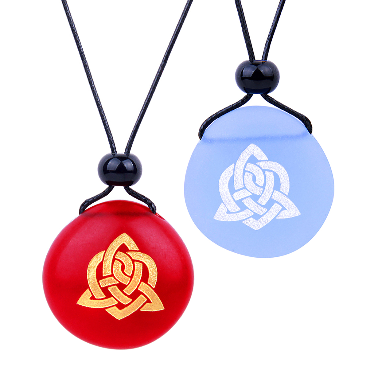 Frosted Sea Glass Stones Magic Celtic Triquetra Knot Love Couples BFF Amulets Sky Blue Red Necklaces